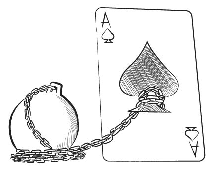 ACE CARD WITH A BALL AND CHAIN ATTACHED