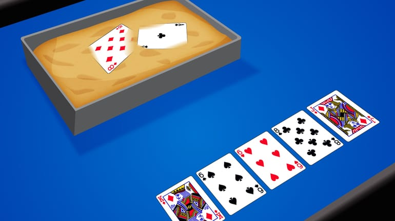 Ace-Eight cards stuck in a treacle puddle with a board of cards that reads – Kd-6s-6h-8c-Jd at a poker table