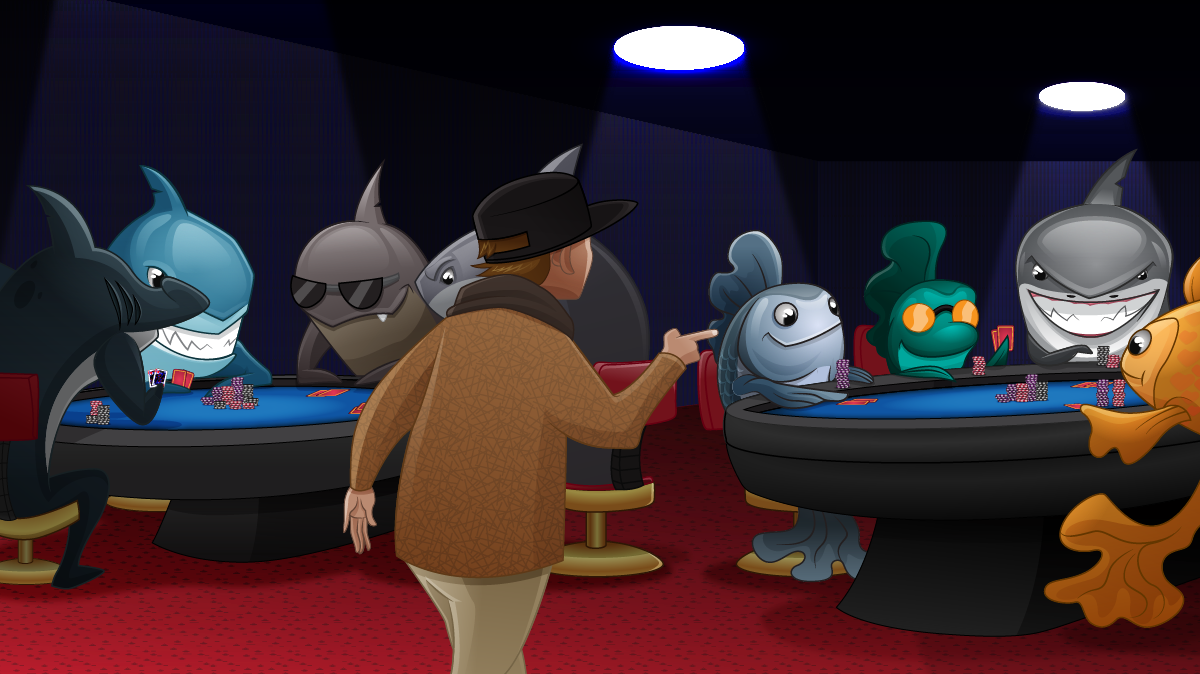 Cash tables with fishes and sharks
