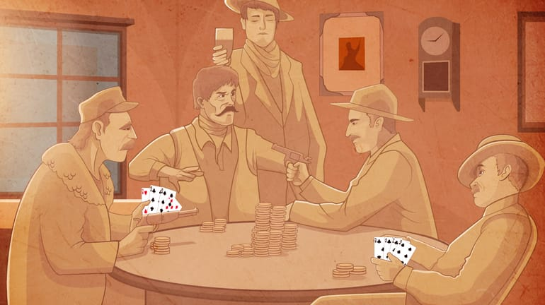 Old school Wild West saloon with gunslingers playing poker