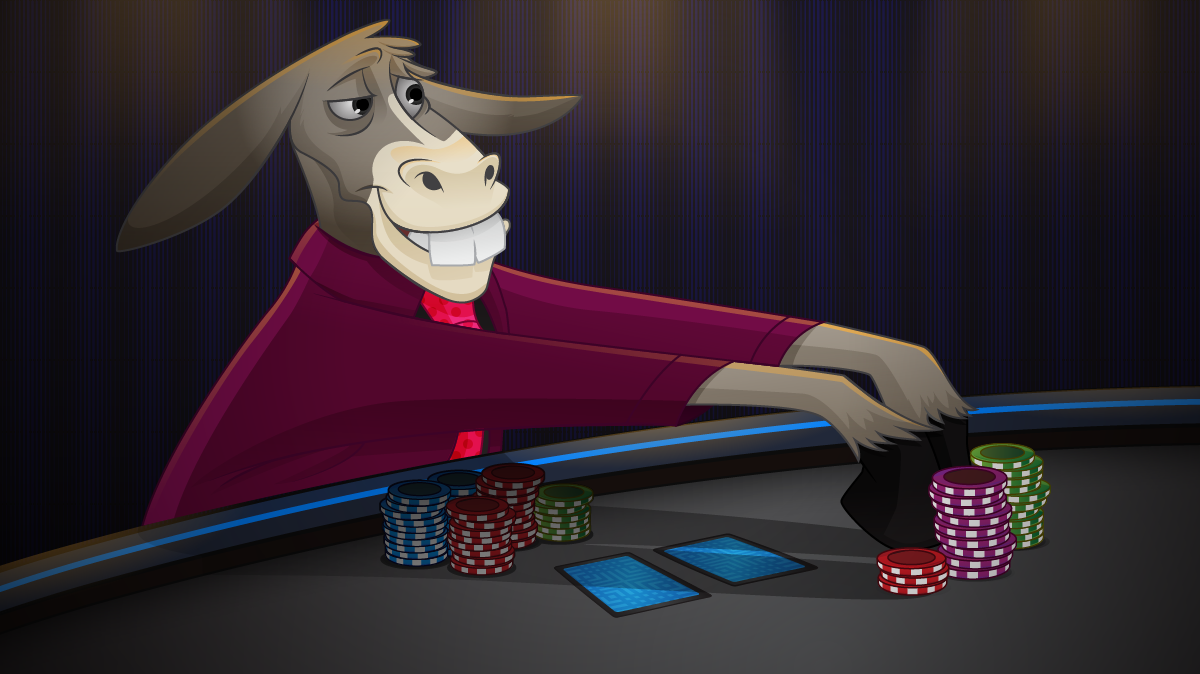 anthropomorphic donkey at poker table leading out with chips in hoof. <<<