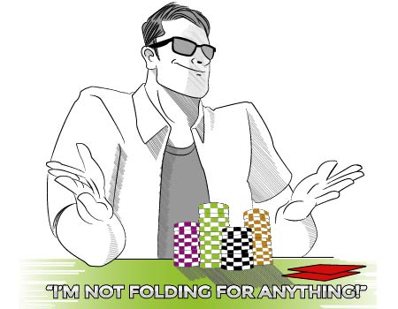 Poker PLAYER WITH THE WORDS IM NOT FOLDING FOR ANYTHING