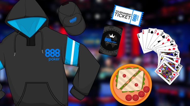 Player loyalty card surrounded by a plate of food, tournament tickets, deck of cards, 888poker hoodie and hat