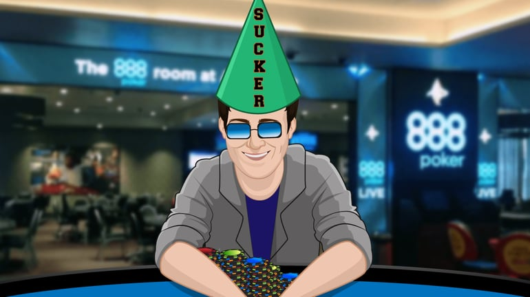 Poker player with dunce's cap with the words SUCKER