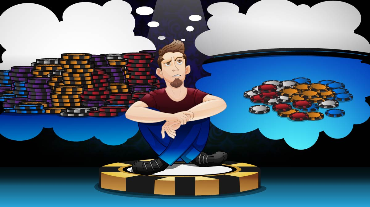 Player sitting on the button with two thought bubbles: one for a BIG pot with a lot of chips in the middle; the other with a smaller pot with only a few chips in the middle