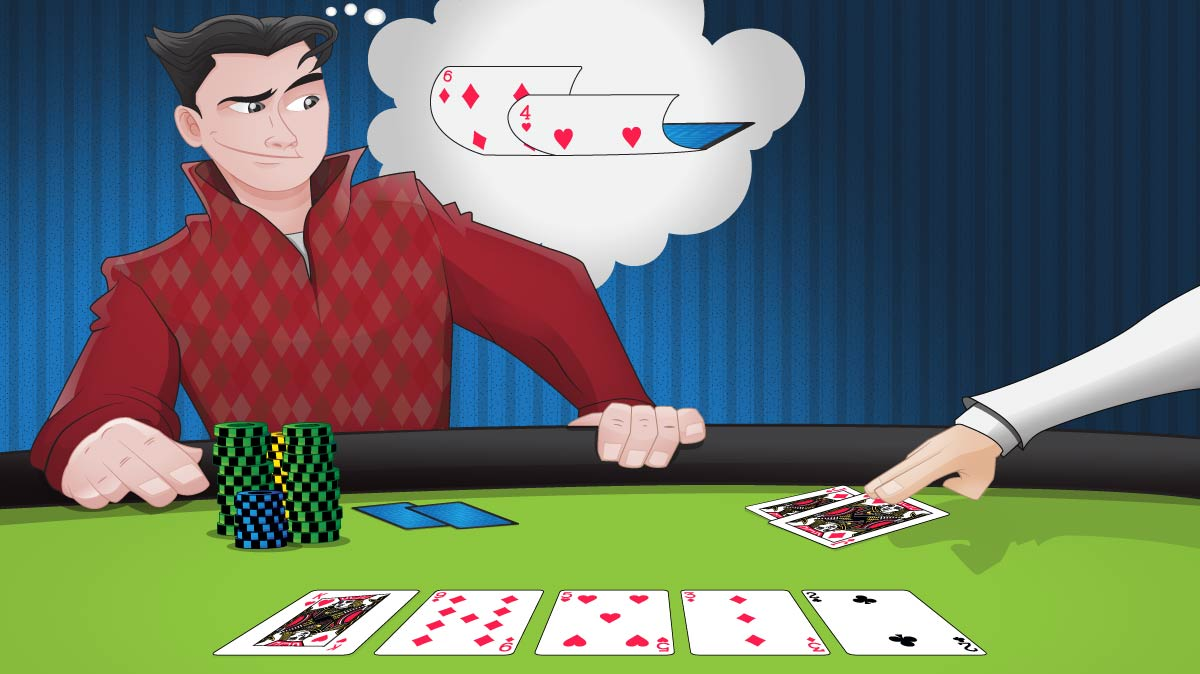 A player sitting at a poker table with the stone nuts (