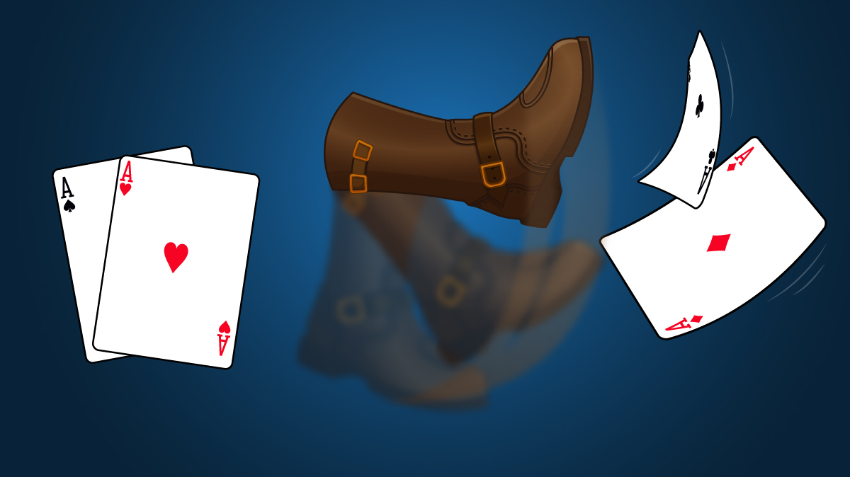 pair of Aces on one side with a boot (kicker) to the right of the Aces kicking a second pair of Aces on the other side
