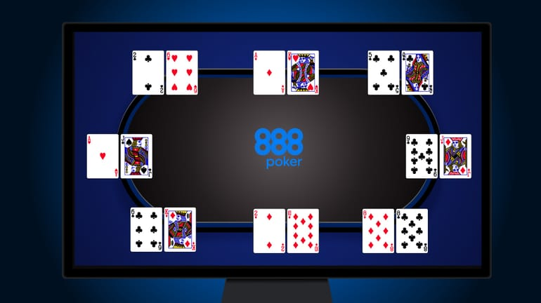 an online poker table with superuser seeing all 8 opponents' hole cards