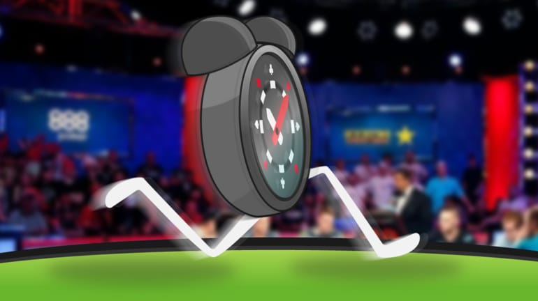 clock with poker chip as face dashing across poker table