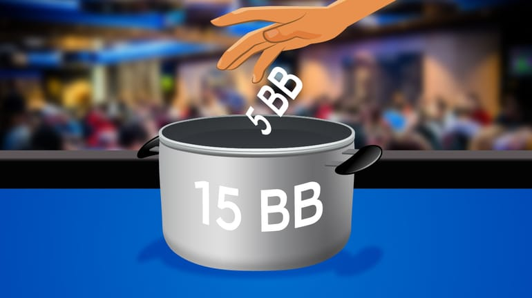 cooking pot labelled 15 BB (Big Blinds) with a hand dropping 5 BB into the pot