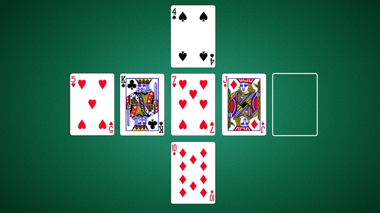 five cards in a cross pattern on a poker table