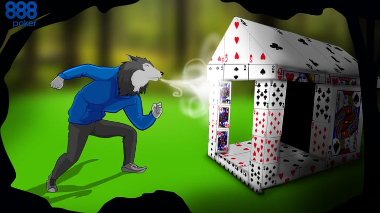 house covered in cards with wolf dressed as poker player trying to blow it down
