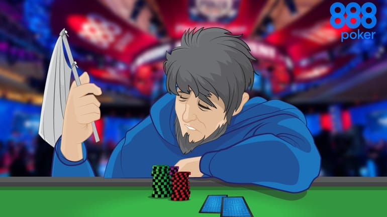 poker player at a table waving the white flag