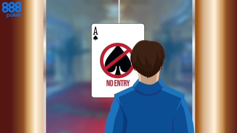 poker player in front of a door that has an Ace in a No Entry sign on it