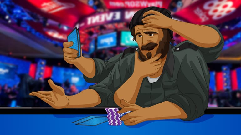 poker player with about 5 pairs of hands sitting at a poker table
