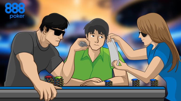 poker players playing rock-paper-scissors