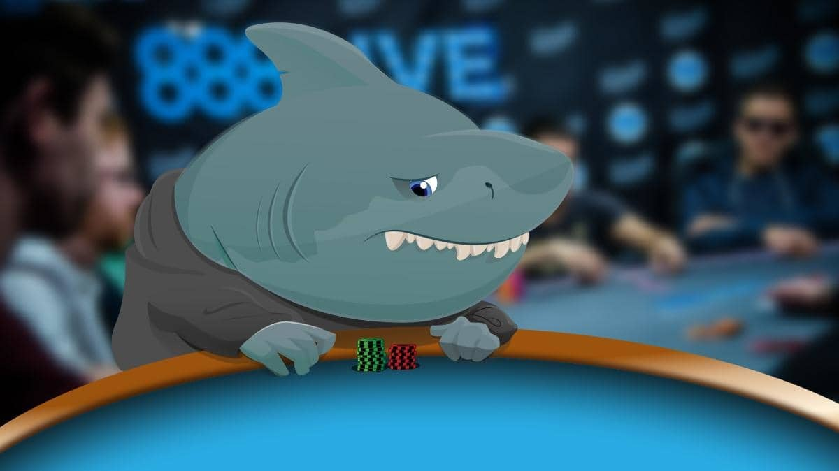 anthropomorphic shark at poker table with s very small stack of chips in front of him.
