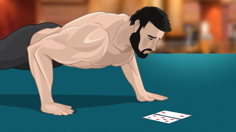 poker player doing push-up