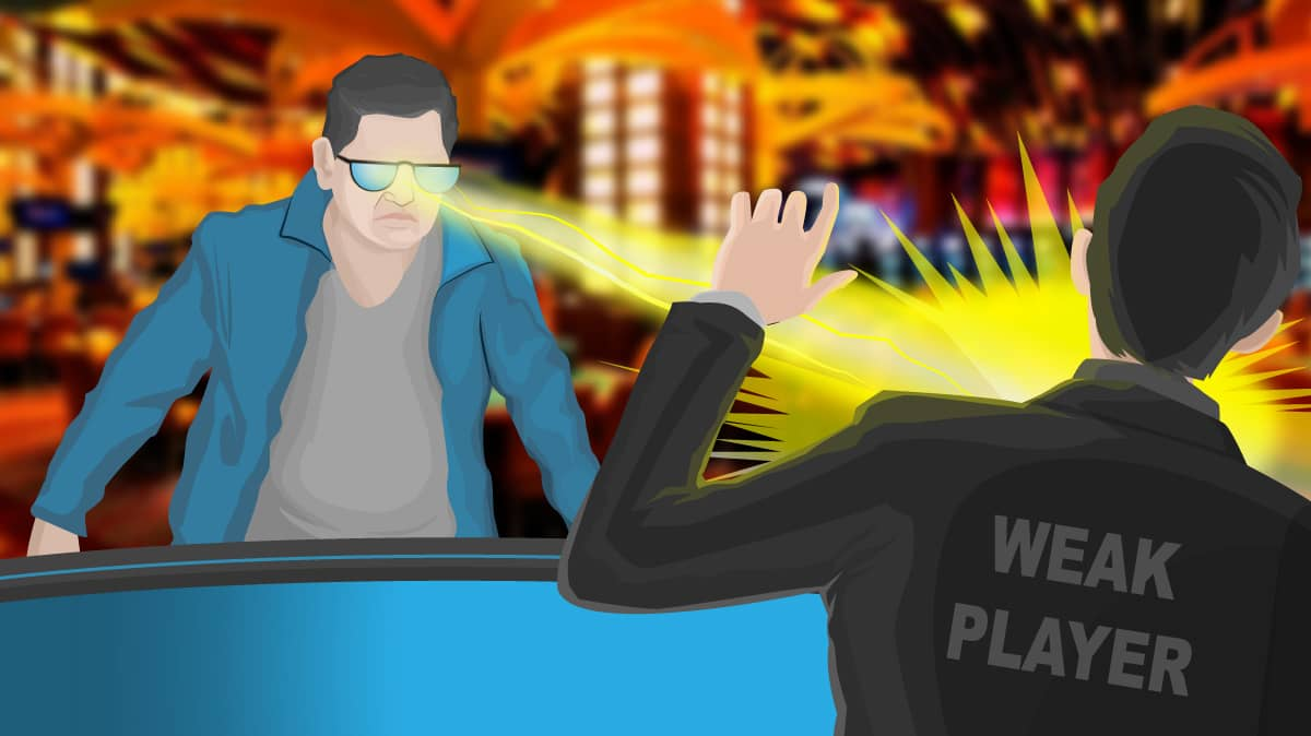 poker player sat at table with sunglasses