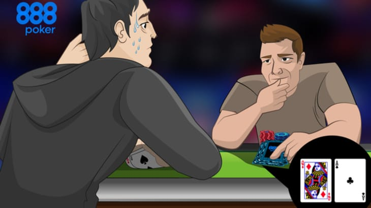 two players heads-up – one holding A2 with beads of sweat on their forehead looking worried and the other looking confident holding AQ
