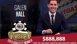 Galen Hall takes down Crazy Eights for $888,888 & 1st Bracelet