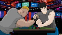 poker players arm wrestling at a poker table