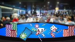 an aeroplane ascending out of a poker table