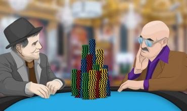 2 poker players with a massive pile of chips