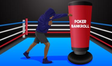 punching bag labelled POKER BANKROLL