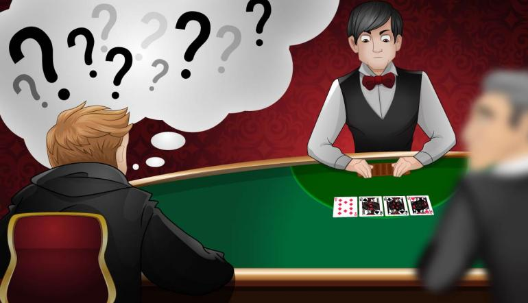 poker player sitting in the UTG seat at a poker table with a thought bubble above his head filled with question marks.